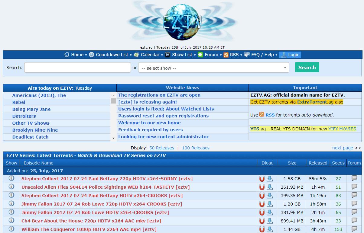EZTV - Best Torrent Sites