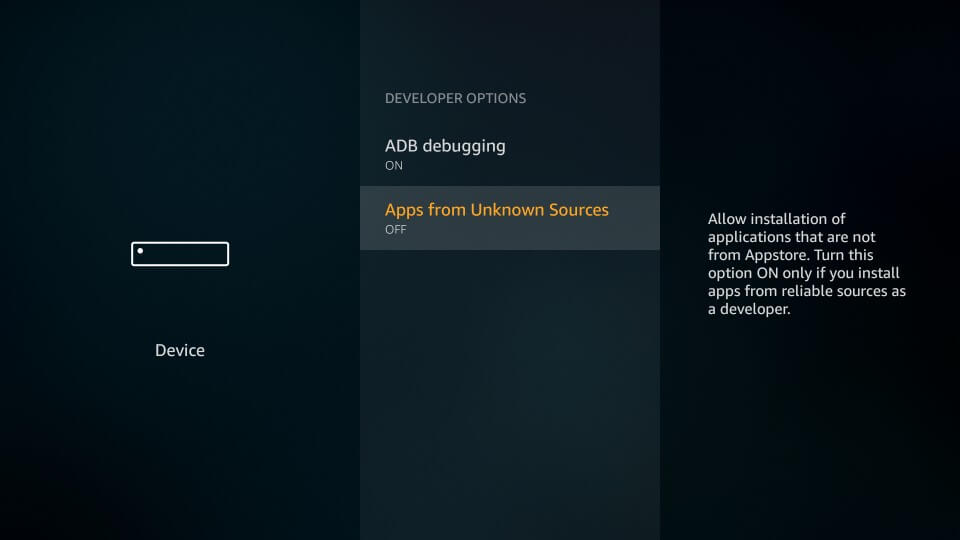 Select Apps from Unknown Sources